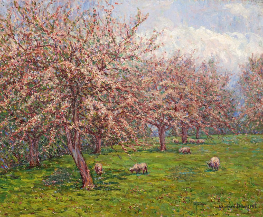 Sheep in an Orchard - Wynford Dewhurst c1902